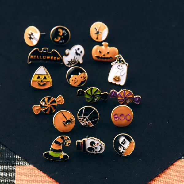 "Halloween stud earring set featuring three pairs with candy enamel details. Approximately .5"" in size."