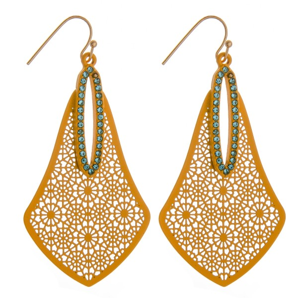 """Long coated filigree earrings featuring rhinestone accents.   - Approximately 2.5"""" in length"""