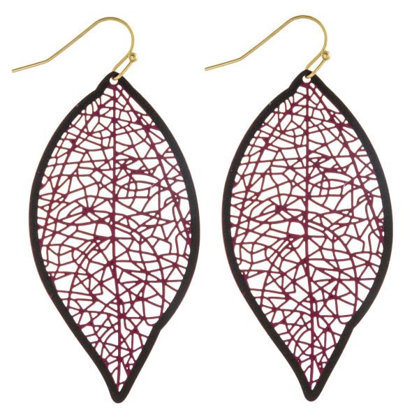 "Long filigree leaf inspired earrings. Approximately 2.5"" in length."