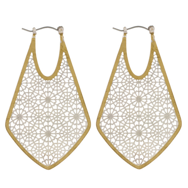 """Two tone filigree pin catch hoop earrings. Approximately 2"""" in length."""