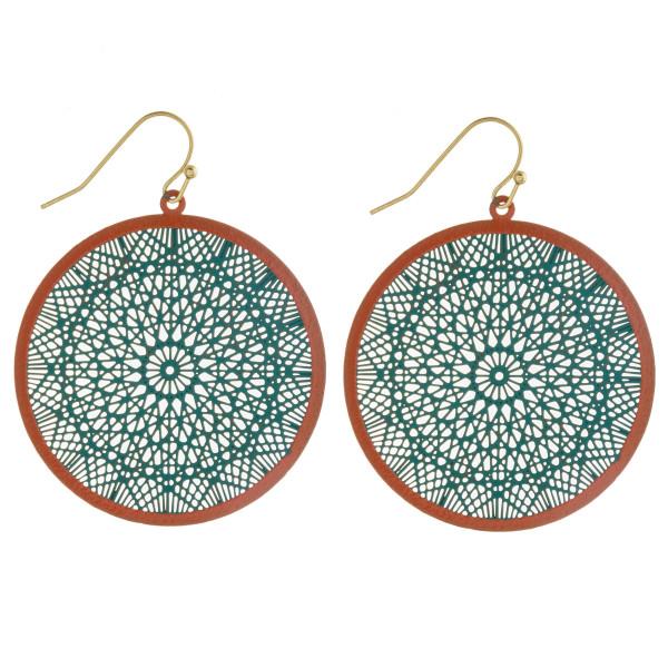 "Two tone filigree disc earrings. Approximately 2"" in diameter."