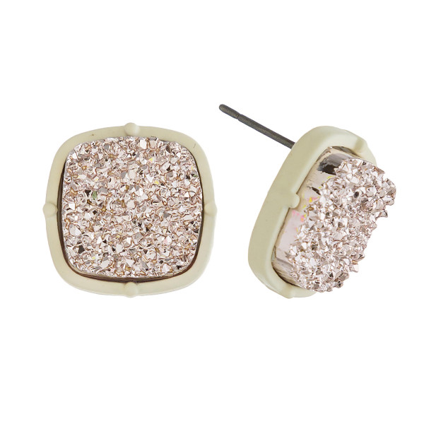 "Druzy stud earrings. Approximately .5"" in diameter."