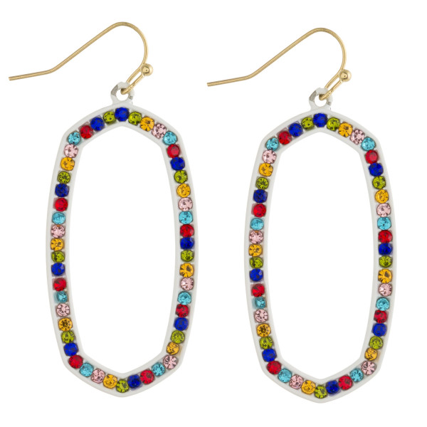 """Multicolor crystal oblong earrings. Approximately 2"""" in length."""