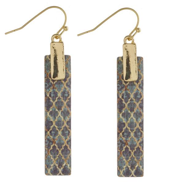"Wood inspired geometric bar earrings. Approximately 2"" in length."