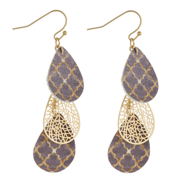 """Faux leather and metal geometric print teardrop drop earrings. Approximately 2.5"""" in length."""