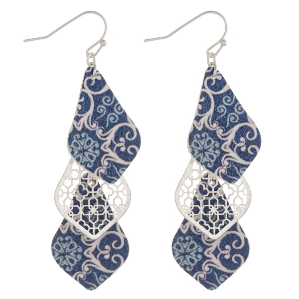 """Faux leather and metal geometric print pointed teardrop drop earrings. Approximately 2.5"""" in length."""