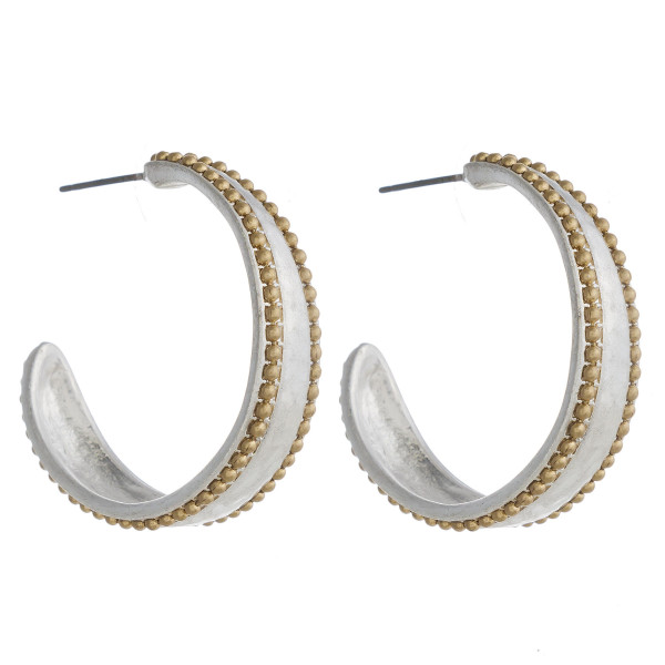 """Two tone metal hoop earrings with ball chain beaded details. Approximately 1.5"""" in diameter."""