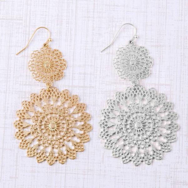 "Metal flower pattern inspired drop earrings. Approximately 2.5"" in length."