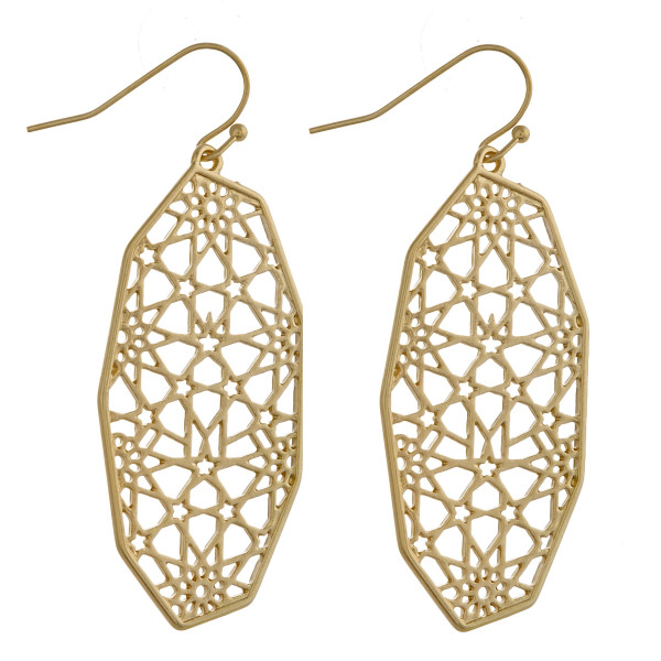 """Metal oblong earrings with pattern inspired details. Approximately 2"""" in length."""
