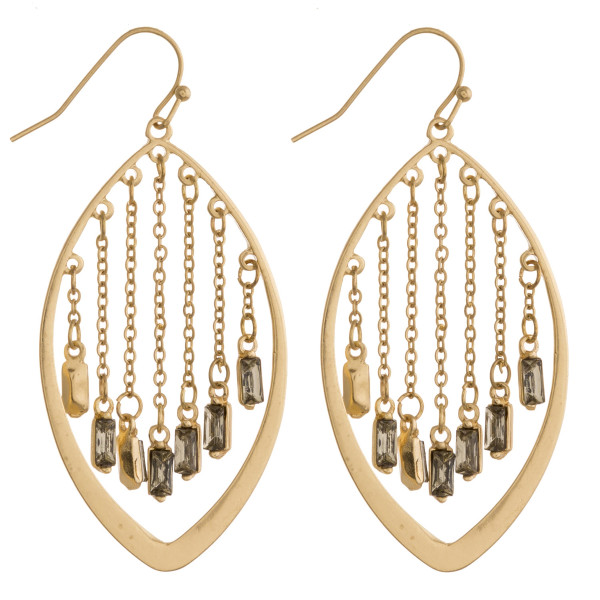 """Gold pointed oval earrings featuring chainlink hanging details with crystal/rhinestone accents. Approximately 2.5"""" in length"""