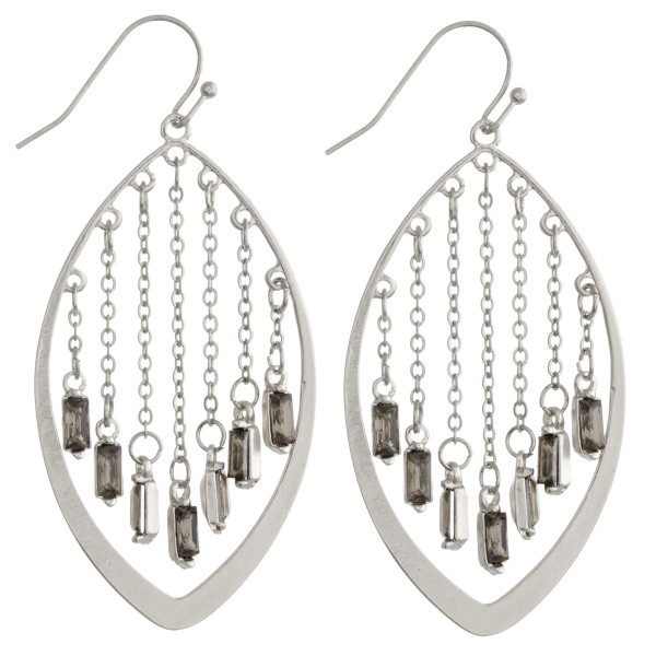 """Silver pointed oval earrings featuring chainlink hanging details with crystal/rhinestone accents. Approximately 2.5"""" in length"""