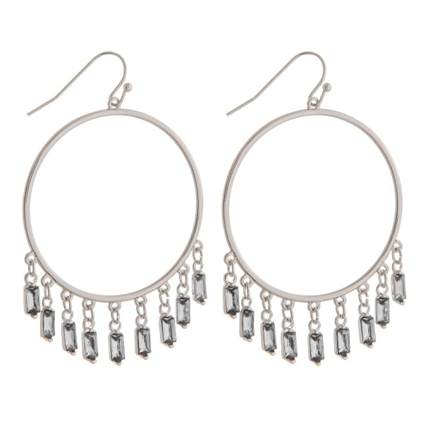 "Open circle rhinestone chandelier drop earrings.   - Approximately 2"" in length"