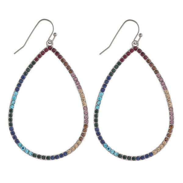 "Teardrop earrings featuring multicolor cubic zirconia details. Approximately 2.5"" in length."