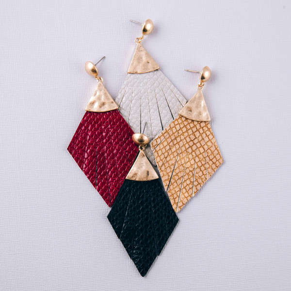 """Faux leather snakeskin feather inspired drop earrings. Approximately 3.5"""" in length."""