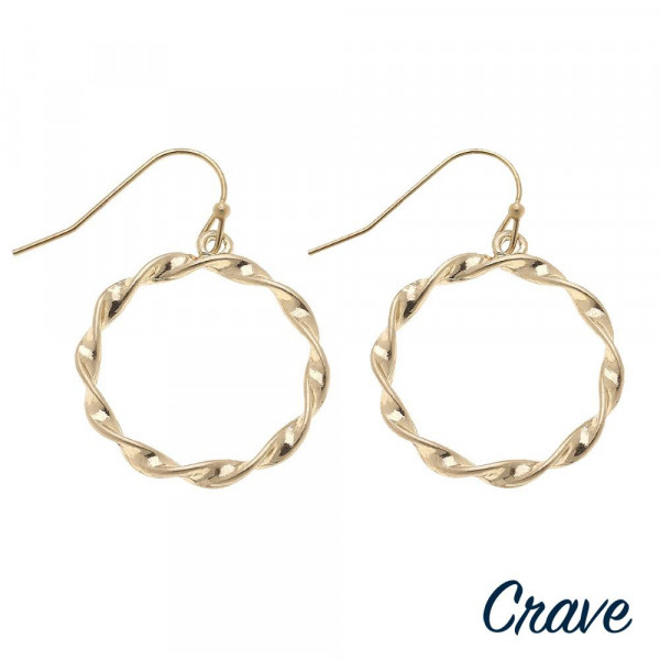 """Round twisted metal earrings. Approximately 1.5"""" in length."""