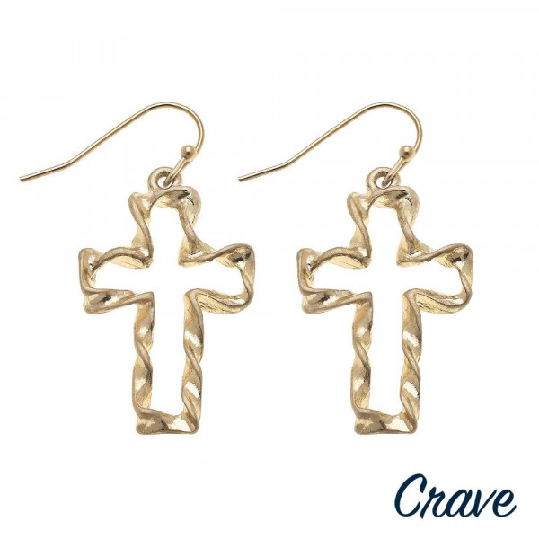 "Twisted cross earrings. Approximately 1.5"" in length."