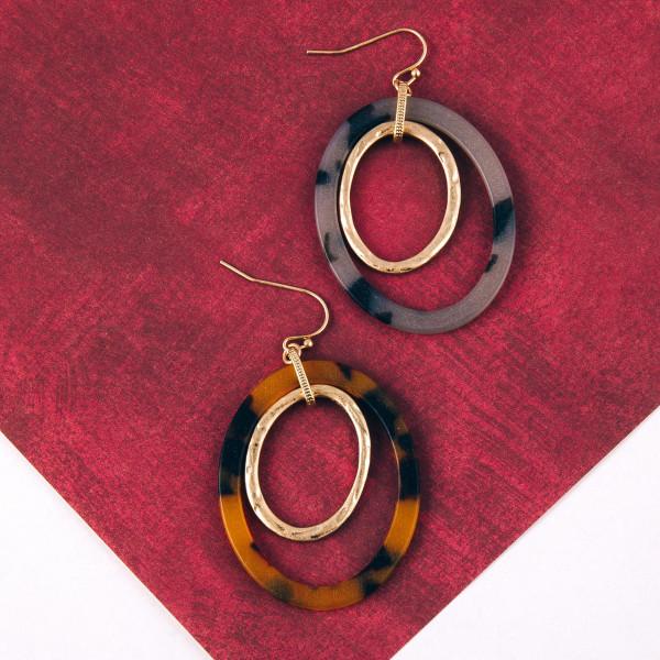 "Oval nested resin earrings. Approximately 2.5"" in length."