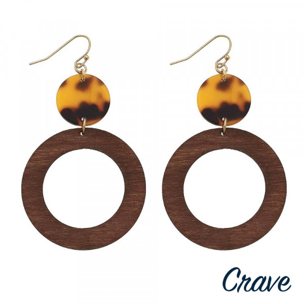 """Wood inspired drop earrings featuring resin accents. Approximately 2.5"""" in length."""