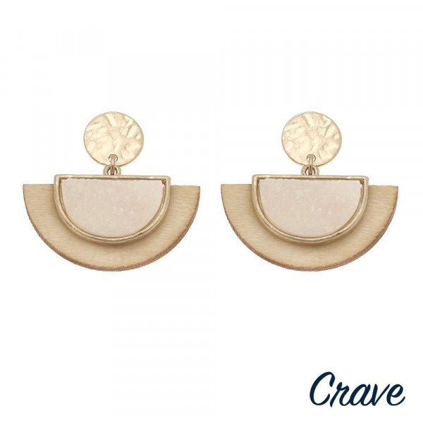 """Wood inspired half moon earrings featuring a druzy accent. Approximately 1"""" in length."""