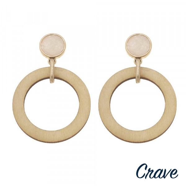 """Wood inspired drop earrings featuring a druzy stud accent. Approximately 2"""" in length."""