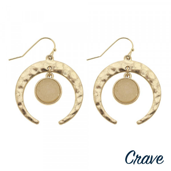 """Metal nested druzy crescent earrings. Approximately 1"""" in diameter."""