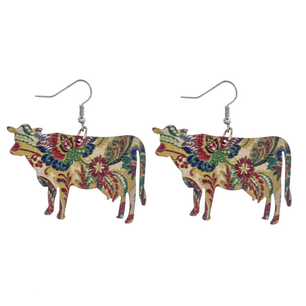"Floral print cow laser cut wood earrings. Approximately 1.5"" in length."