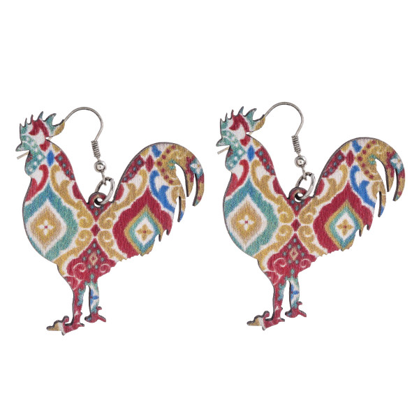 """Geometric rooster laster cut wood earrings. Approximately 2"""" in length."""