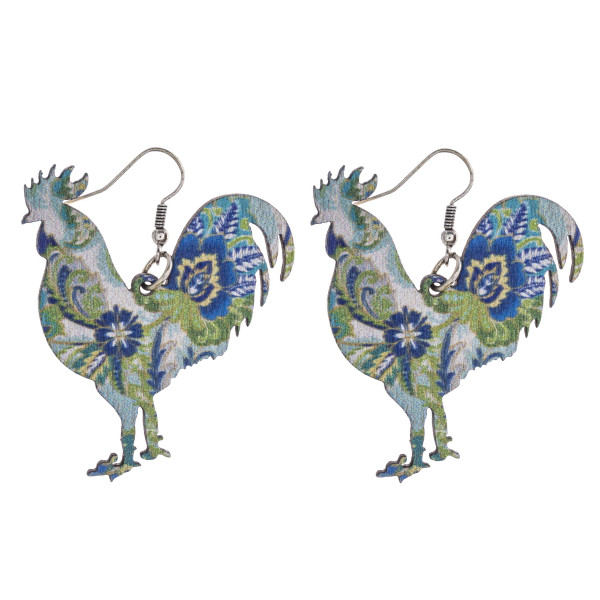 """Floral paisley rooster laster cut wood earrings. Approximately 2"""" in length."""
