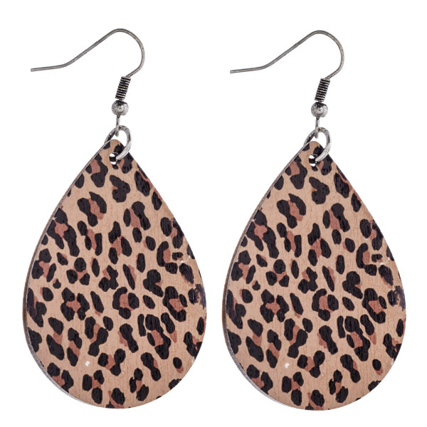 "Leopard print teardrop laser cut wood earrings. Approximately 2.5"" in length."
