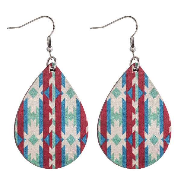"Tribal print teardrop laser cut wood earrings. Approximately 2.5"" in length."