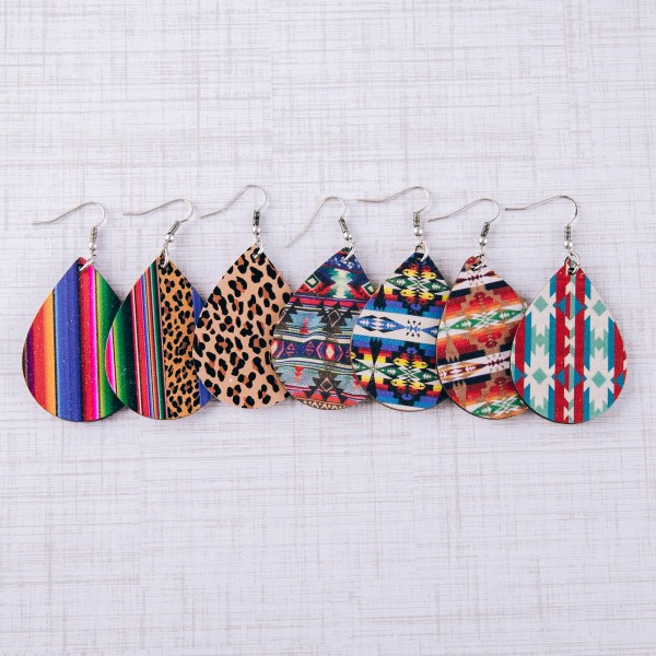 "Leopard print serape teardrop laser cut wood earrings. Approximately 2.5"" in length."