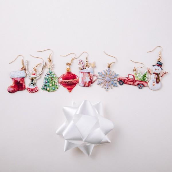 "Enamel coated Christmas tree dangle earrings.  - Approximately 2.5"" in length"