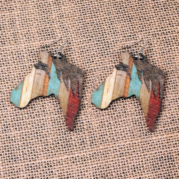 "Multicolor rustic wood horse dangle earrings. Approximately 2.5"" in length."
