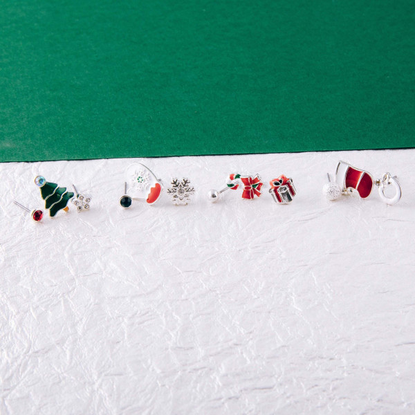 """Christmas assorted stud earring set featuring enamel details. Approximately .5cm in diameter to .5"""" in length."""
