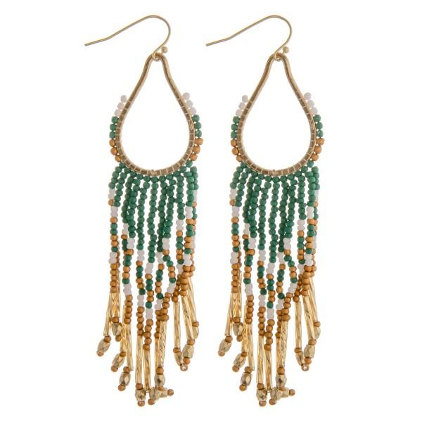 """Seed beaded teardrop tassel earrings.  - Approximately 4"""" in length"""