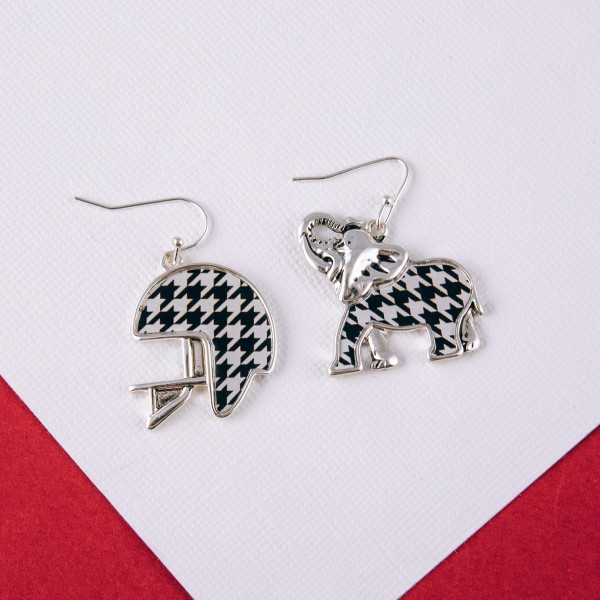 "Metal houndstooth encased football helmet drop earrings.  - Approximately 1.5"" in length"