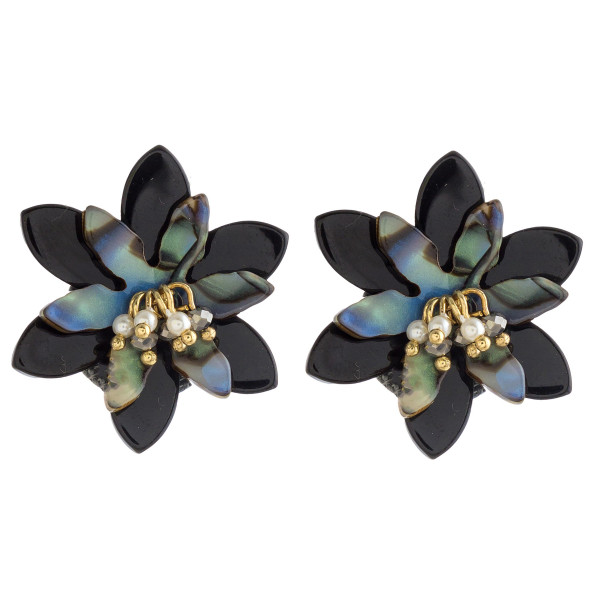 "Abalone flower stud earrings with pearl beaded accents. Approximately 1"" in diameter."