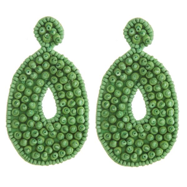 """Oversized bubble seed beaded felt teardrop earrings. Approximately 3"""" in length."""