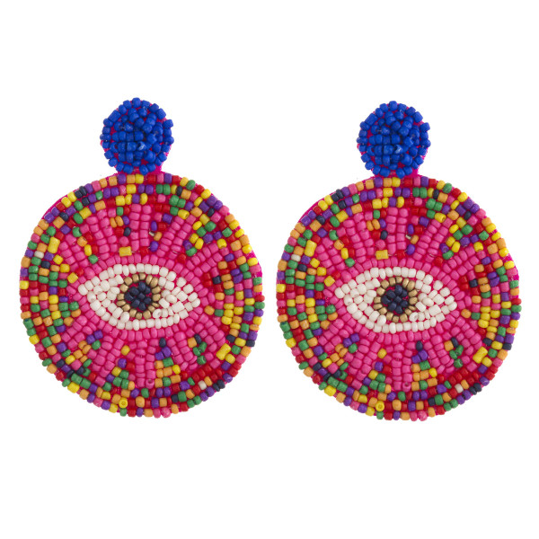 "Seed beaded felt disc evil eye earrings. Approximately 3"" in length."