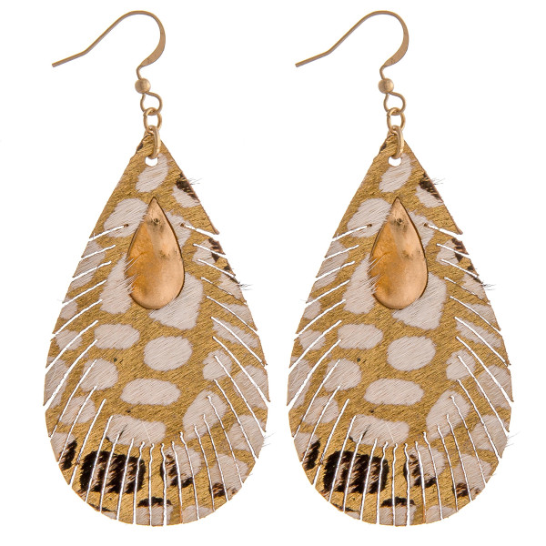 "Genuine leather metallic animal print teardrop earrings with metal accents. Approximately 3"" in length."