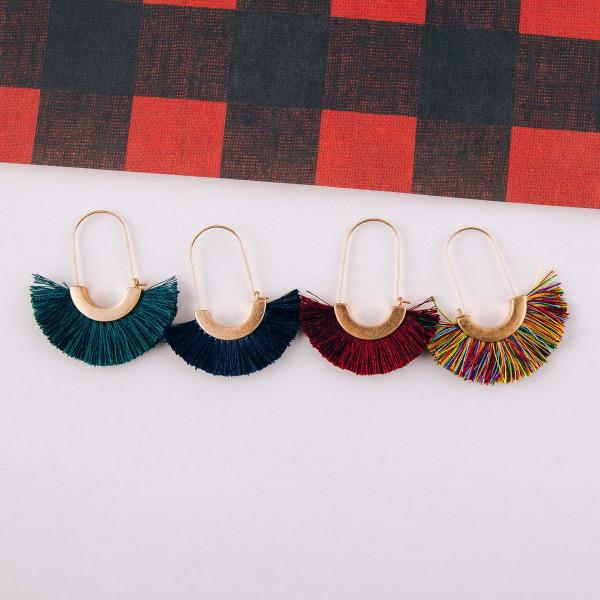 """Oval wire hoop tassel earrings. Approximately 2"""" in length."""