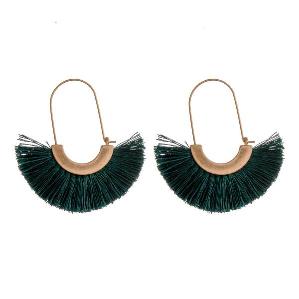 """Oval hoop tassel earrings. Approximately 2"""" in length."""