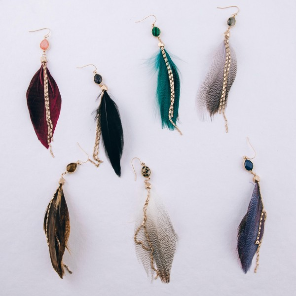 """Natural stone double chain accented feather dangle earrings. Approximately 4.5"""" in length."""