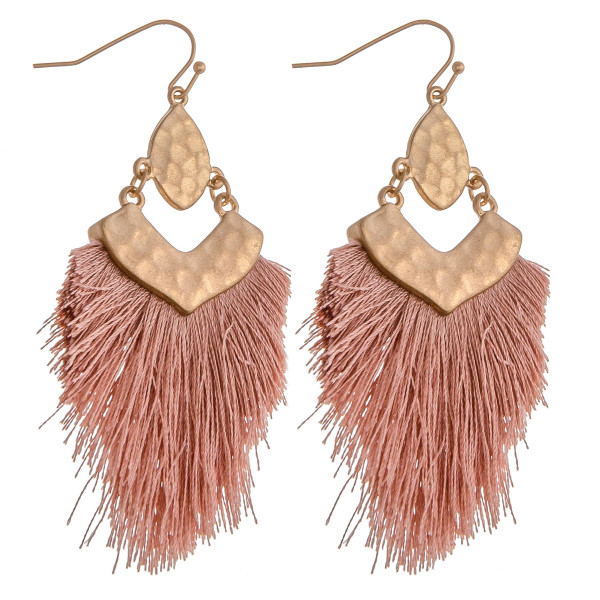 "Hammered metal tassel dangle earrings. Approximately 3"" in length."