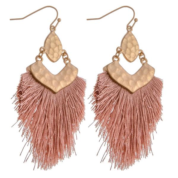 "Hammered metal tassel dangle earrings. Approximately 3"" in length."