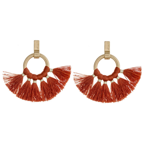 "Fan tassel open circle dangle earrings. Approximately 1.5"" in length."