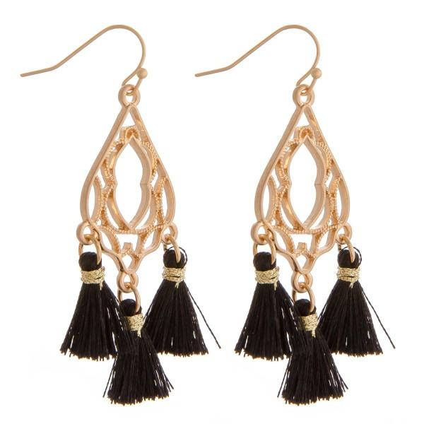 """Lightweight filigree arabesque tassel earrings. Approximately 2"""" in length."""