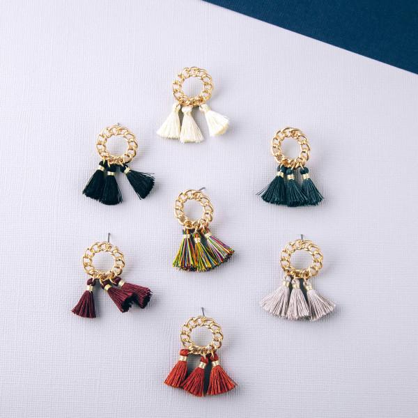 """Fan tassel chain link texture dangle earrings. Approximately 1.5"""" in length."""