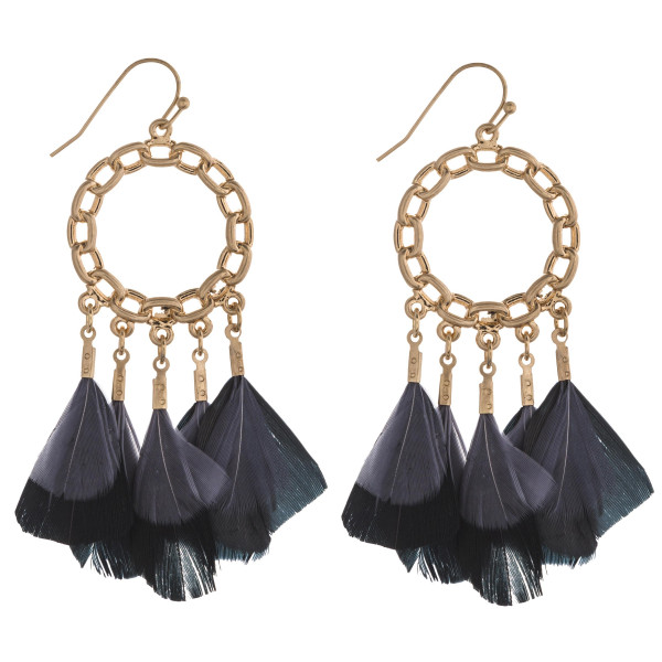 """Chain link boho feather chandelier earrings. Approximately 2.5"""" in length."""