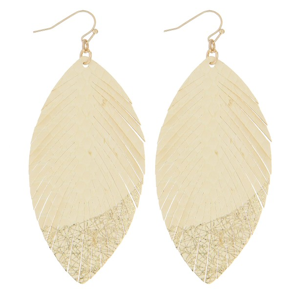 "Thin faux leather gold metallic feather earrings.   - Approximately 3.5"" in length"